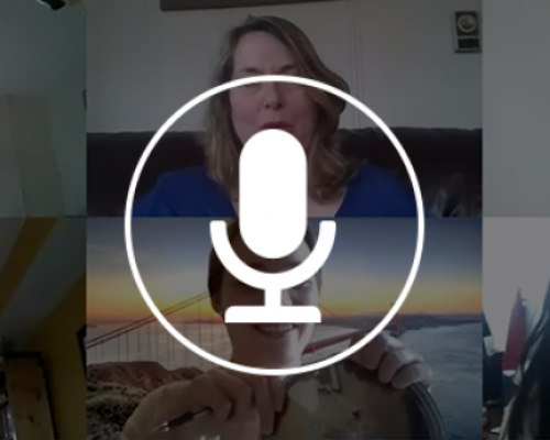 A screenshot of a video conference with a microphone icon overlayed