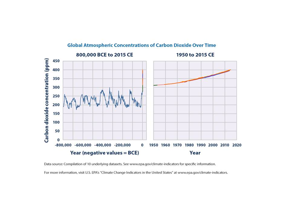 Graphs of Global Atmospheric Concentrations of Carbon Dioxide Over Time