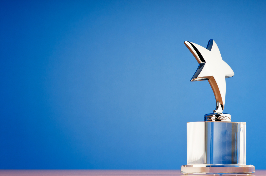Award on blue background